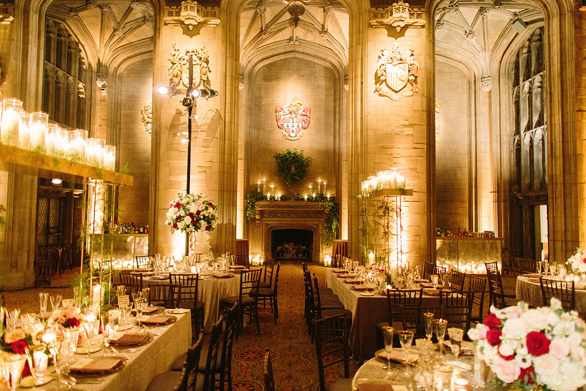 Reception Tables at University Club in Chicago showcasing various centerpiece heights, tall short and extra tall.